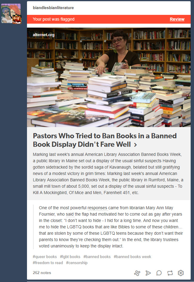 This... is almost incomprehensibly meta. [image description: a screencap of a post linkingPastors Who Tried to Ban Books in a Banned Book Display Didn