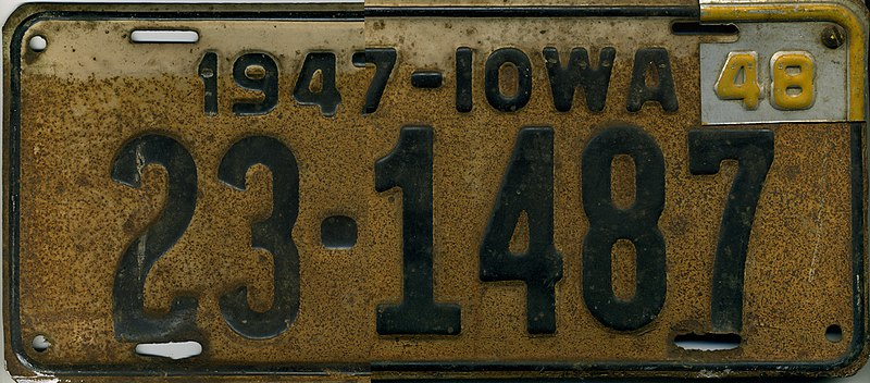 800px-Iowa_1948_license_plate_-_Number_23-1487